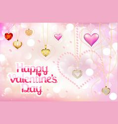 happy valentines day- inscription hearts pearls vector image