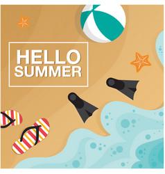 Hello summer beach seashore beach ball fins backgr vector