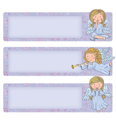 Horizontal banner with cute angels vector