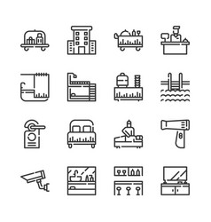 hotel service icon set vector image