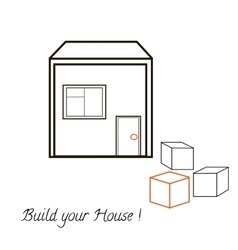 House and three blocks concept vector