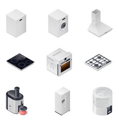 Household appliances detailed isometric icons set vector