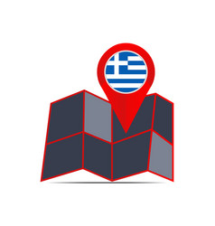 Icon map map greece with a country flag vector