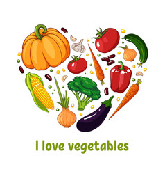isolated heart silhouette made of vegetables vector image