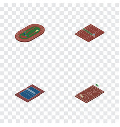 Isometric training set of volleyball run stadium vector
