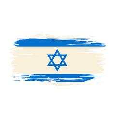 israeli flag brush grunge background vector image