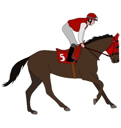 jockey riding race horse 5 vector image