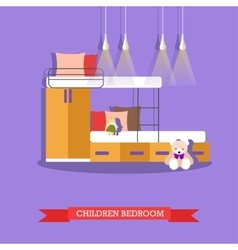 Kids bedroom interior in flat style vector