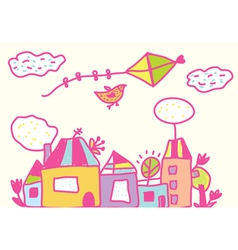 Kids funny background with kite and houses vector image