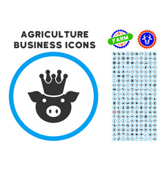king pig rounded icon with set vector image