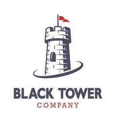 Knight black tower logo vector
