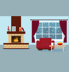 Living room with fireplace vector