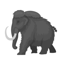 Mammoth icon in monochrome style isolated on white vector image
