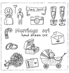 marriage hand drawn doodle set isolated elements vector image