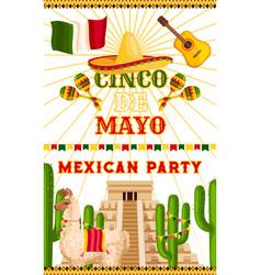 Mexican party cinco de mayo fiesta poster vector
