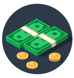 money dollar piles flat icon vector image