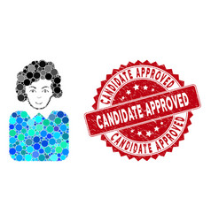 Mosaic bureaucrat lady with scratched candidate vector