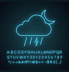 Night thunderstorm neon light icon vector