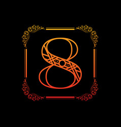 number 8 with ornament vector image