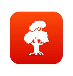 oak icon digital red vector image