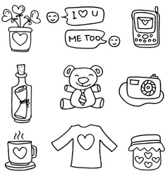 Object love with hand draw doodles vector