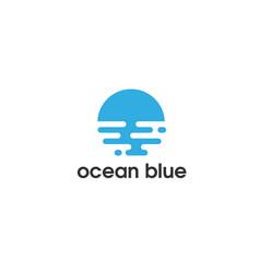 ocean blue flat logo vector image