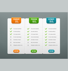 Price plans comparison infographic tab with 3 vector