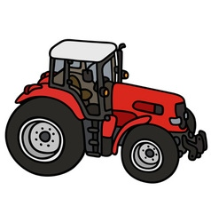 Red heavy tractor vector