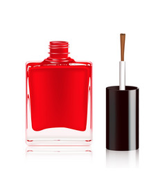 Red nail polish in the bottle isolated on white vector