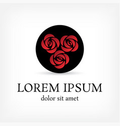 red square rose bouquet in circle logo vector image