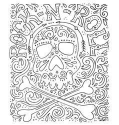 rock-n-roll hannddrawn poster vector image