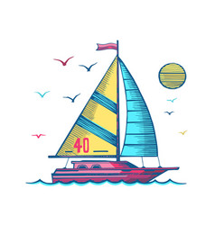 sailing yacht in sea colored sketch vector image