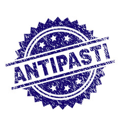 Scratched textured antipasti stamp seal vector