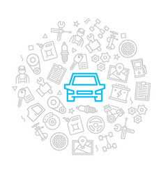 set car service and auto repair icons in vector image