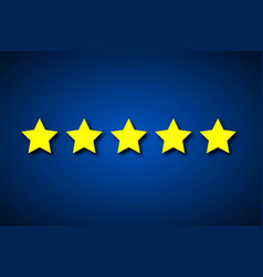 Set five yellow rating stars on blue background vector