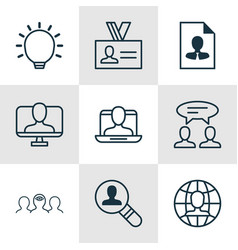 set of 9 business management icons includes great vector image vector image