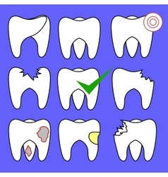 Set of Rotten Teeth and Healthy vector