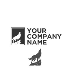 Silhouette wolf logo vector