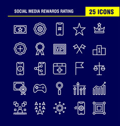 Social media rewards rating line icon pack for vector
