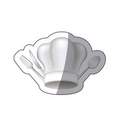 Sticker chef hat with cutlery kitchen elements vector
