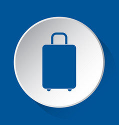 Suitcase - simple blue icon on white button vector