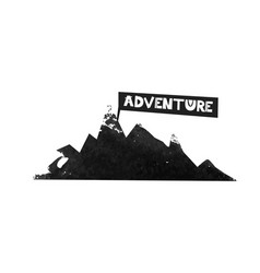 the journey to the mountains adventure lettering vector image