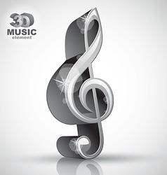 Treble clef 3d metallic music design element vector