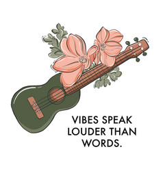 ukulele guitar musical instrument with flower vector image