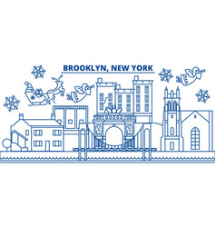 usa new york brooklyn winter city skyline merry vector image