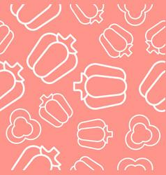 vegetable seamless pattern bell pepper outline vector image