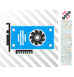 video gpu card flat icon with bonus vector image
