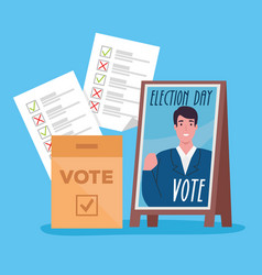 Vote elections day president banner box and papers vector