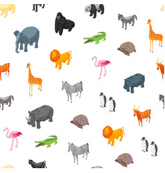 Wild animals seamless pattern background isometric vector
