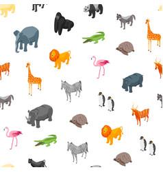 wild animals seamless pattern background isometric vector image